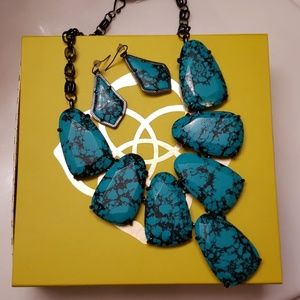 Kendra Scott Variegated Teal/Black Harlow and earr